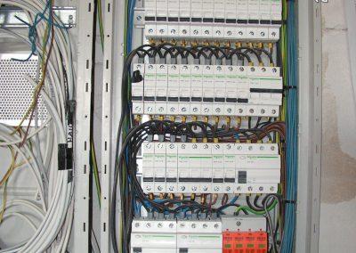 Rozdzielnica elektryczna z bezpiecznikami - wyłącznikami różnicowoprądowymi oraz zabezpieczeniem przeciwprzepięciowym